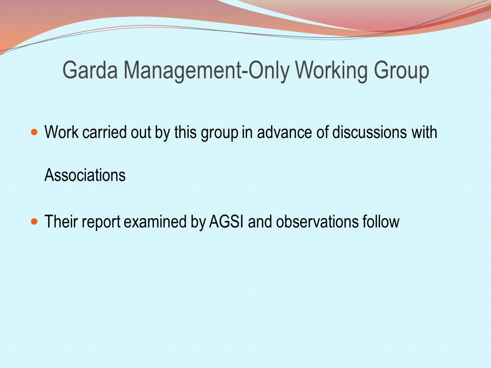 Garda Management-Only Working Group Work carried out by this group in advance of discussions with Associations Their report examined by AGSI and observations follow