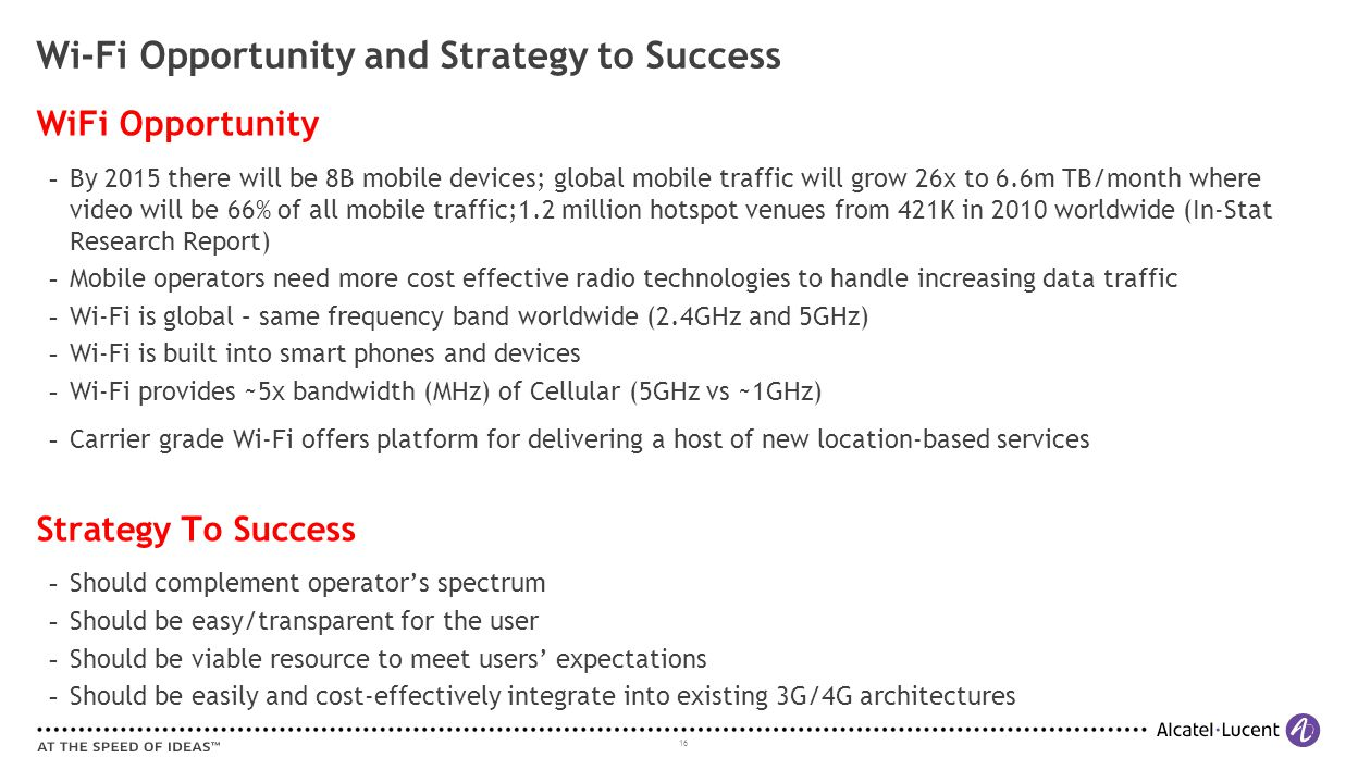 16 Wi-Fi Opportunity and Strategy to Success WiFi Opportunity ­ By 2015 there will be 8B mobile devices; global mobile traffic will grow 26x to 6.6m T