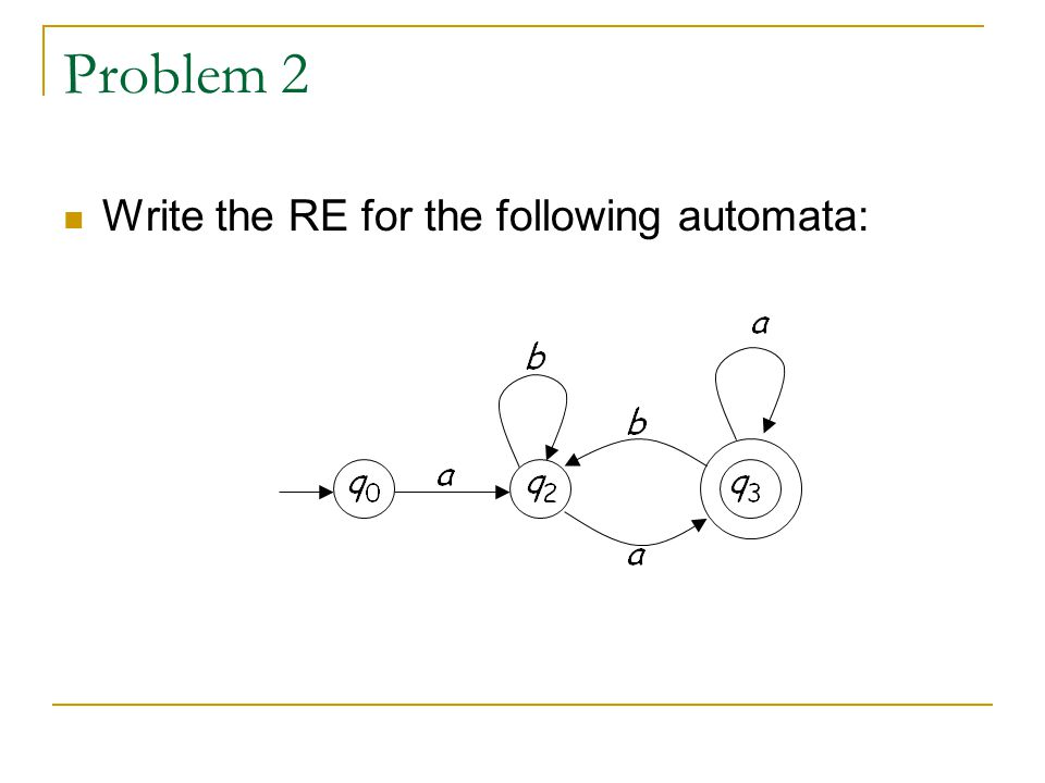 Problem 2 Write the RE for the following automata: