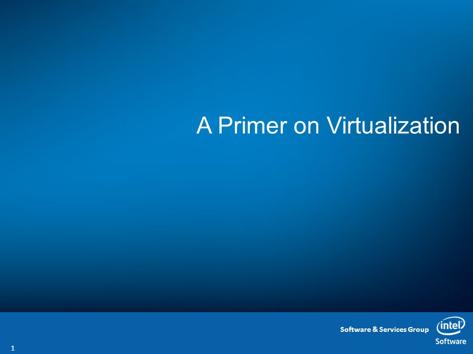 Software & Services Group A Primer on Virtualization 1