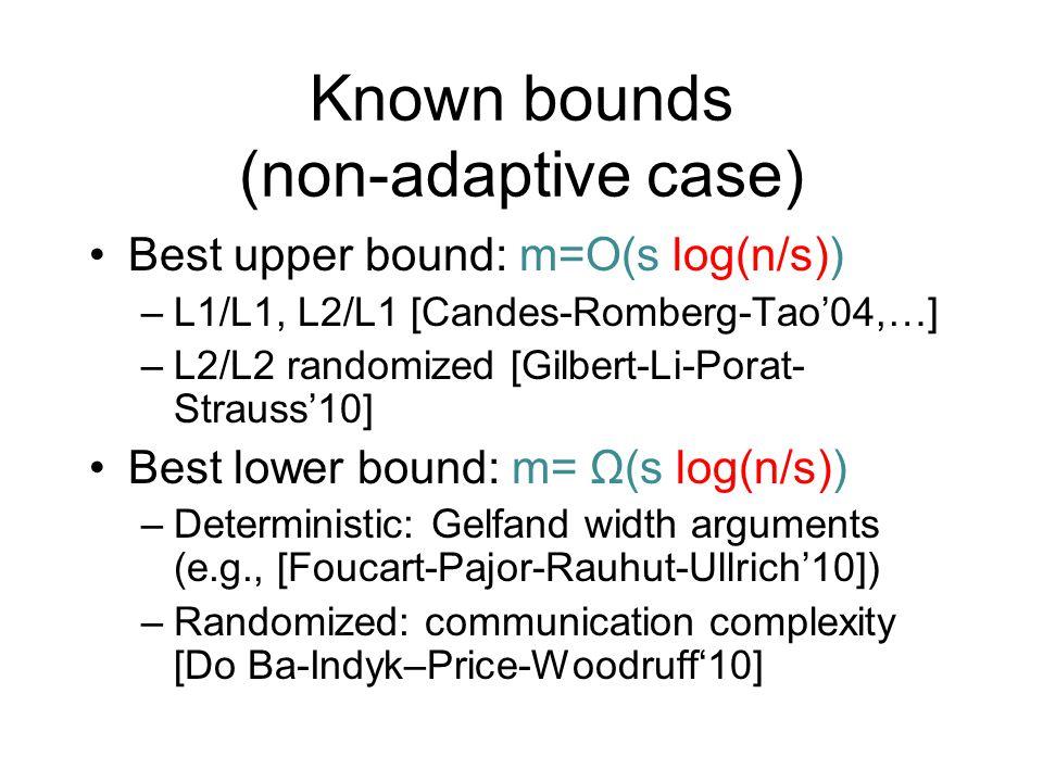 Known bounds (non-adaptive case) Best upper bound: m=O(s log(n/s)) –L1/L1, L2/L1 [Candes-Romberg-Tao'04,…] –L2/L2 randomized [Gilbert-Li-Porat- Strauss'10] Best lower bound: m= Ω(s log(n/s)) –Deterministic: Gelfand width arguments (e.g., [Foucart-Pajor-Rauhut-Ullrich'10]) –Randomized: communication complexity [Do Ba-Indyk–Price-Woodruff'10]