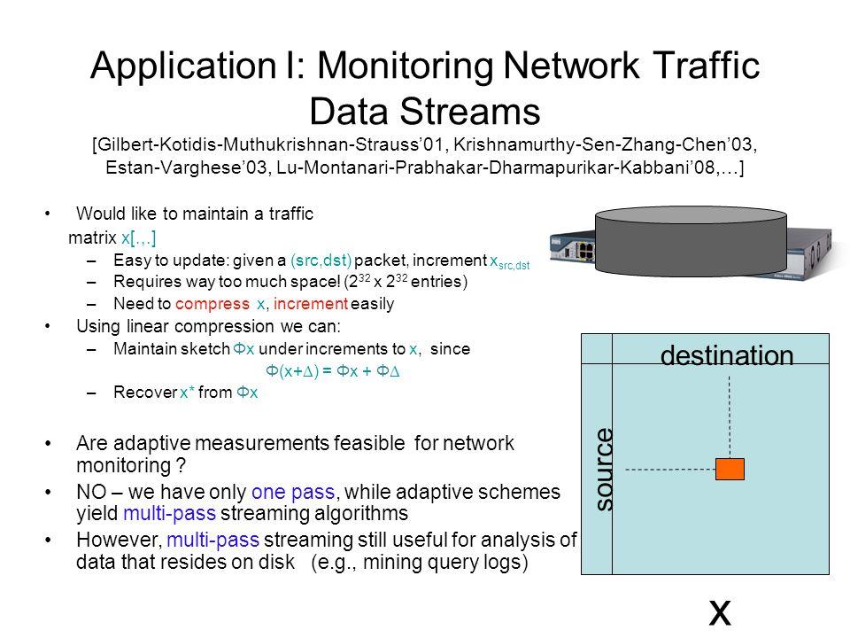 Application I: Monitoring Network Traffic Data Streams [Gilbert-Kotidis-Muthukrishnan-Strauss'01, Krishnamurthy-Sen-Zhang-Chen'03, Estan-Varghese'03, Lu-Montanari-Prabhakar-Dharmapurikar-Kabbani'08,…] Would like to maintain a traffic matrix x[.,.] –Easy to update: given a (src,dst) packet, increment x src,dst –Requires way too much space.