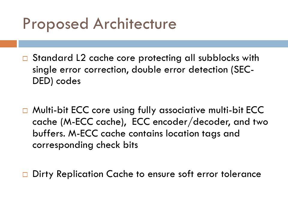 Proposed Architecture  Standard L2 cache core protecting all subblocks with single error correction, double error detection (SEC- DED) codes  Multi-bit ECC core using fully associative multi-bit ECC cache (M-ECC cache), ECC encoder/decoder, and two buffers.