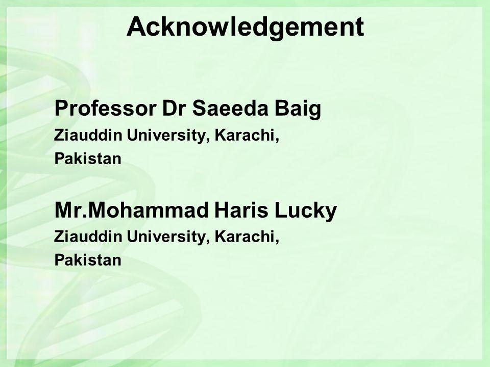 Acknowledgement Professor Dr Saeeda Baig Ziauddin University, Karachi, Pakistan Mr.Mohammad Haris Lucky Ziauddin University, Karachi, Pakistan
