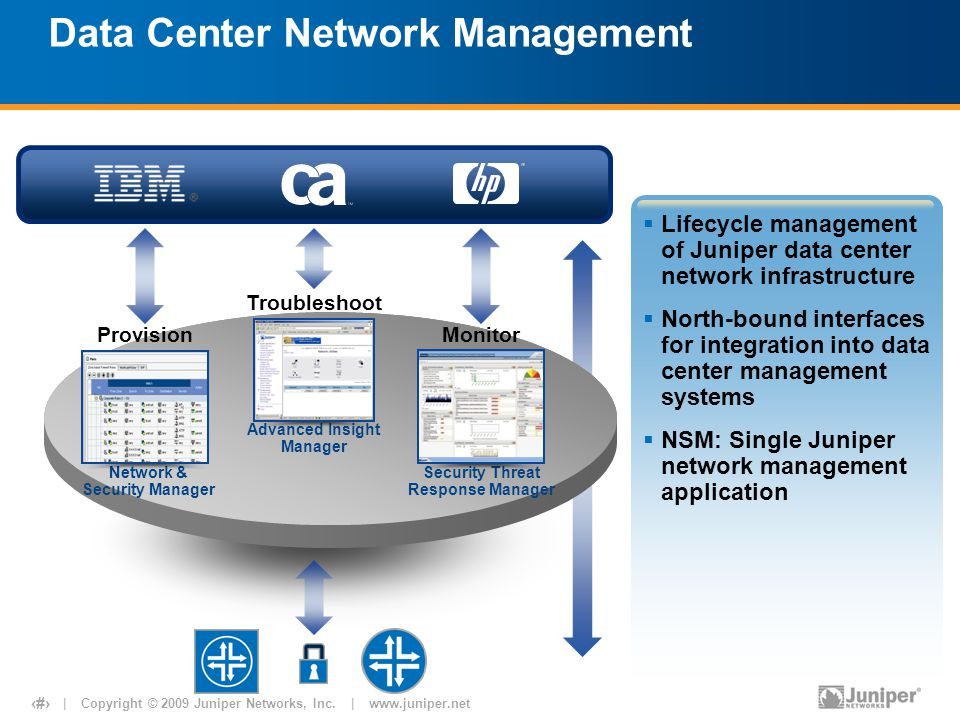 | Copyright © 2009 Juniper Networks, Inc. | www.juniper.net 14 Data Center Network Management Network & Security Manager Security Threat Response Mana