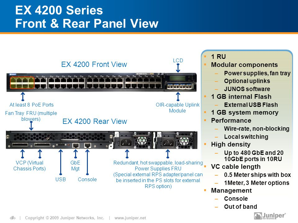| Copyright © 2009 Juniper Networks, Inc. | www.juniper.net 5 EX 4200 Front View EX 4200 Rear View EX 4200 Series Front & Rear Panel View GbE Mgt VCP