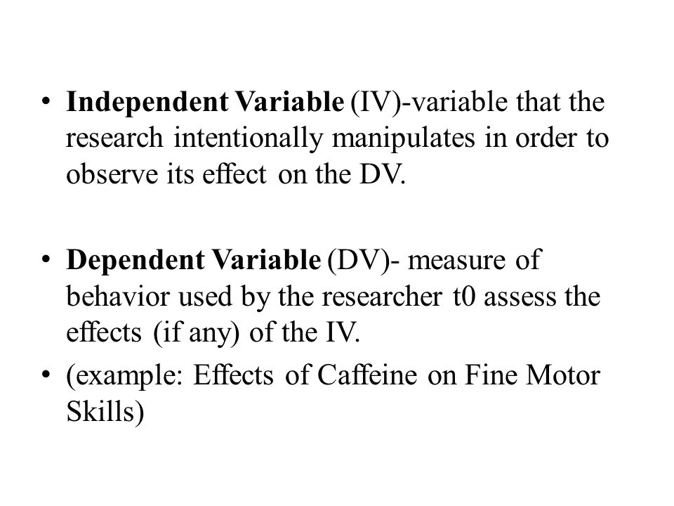 Independent Variable (IV)-variable that the research intentionally manipulates in order to observe its effect on the DV.