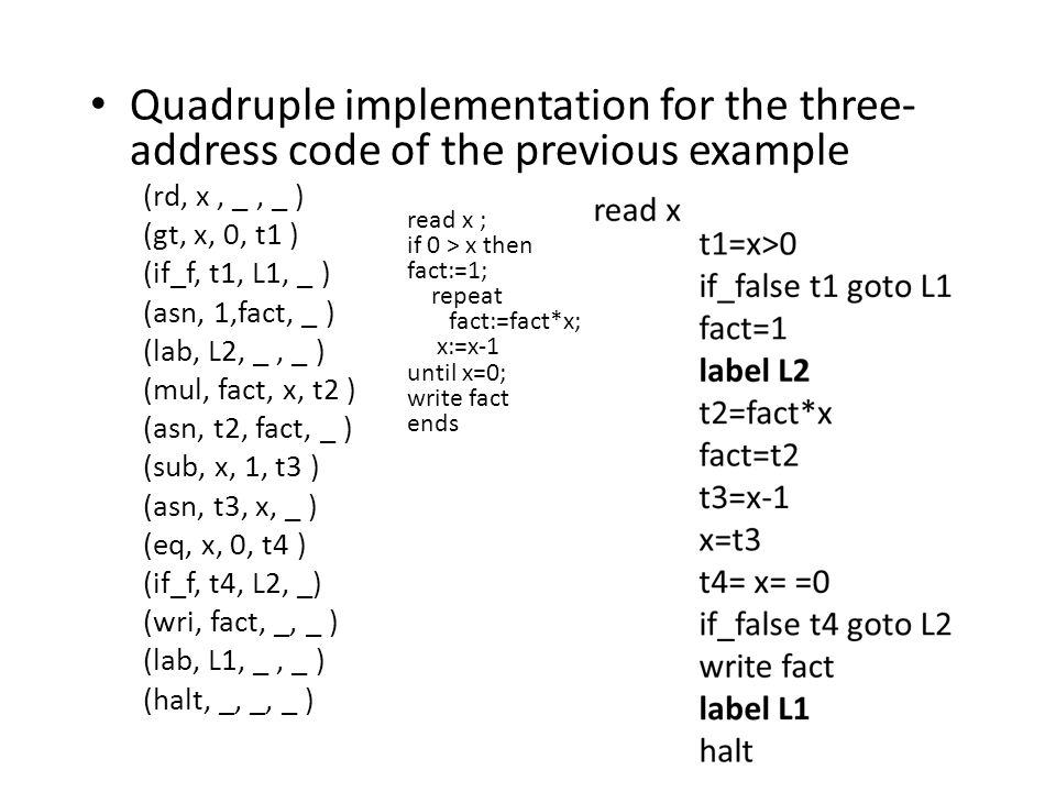 Quadruple implementation for the three- address code of the previous example (rd, x, _, _ ) (gt, x, 0, t1 ) (if_f, t1, L1, _ ) (asn, 1,fact, _ ) (lab, L2, _, _ ) (mul, fact, x, t2 ) (asn, t2, fact, _ ) (sub, x, 1, t3 ) (asn, t3, x, _ ) (eq, x, 0, t4 ) (if_f, t4, L2, _) (wri, fact, _, _ ) (lab, L1, _, _ ) (halt, _, _, _ ) read x ; if 0 > x then fact:=1; repeat fact:=fact*x; x:=x-1 until x=0; write fact ends