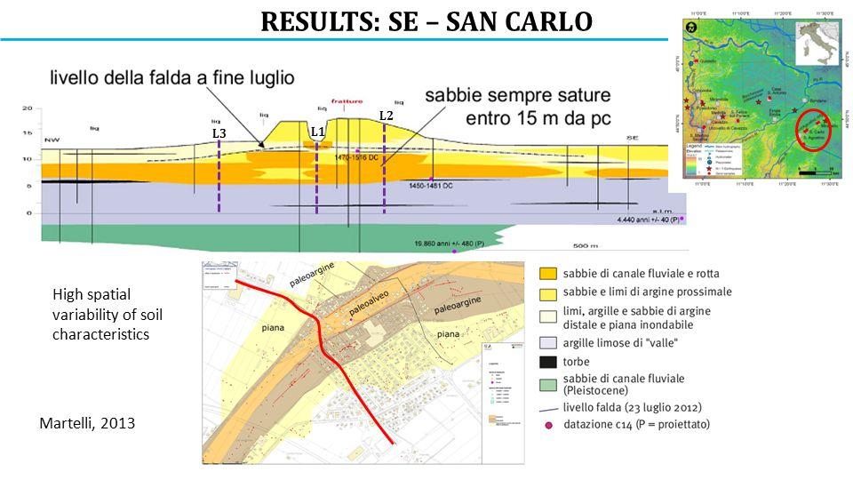 RESULTS: SE – SAN CARLO L3 L2 L1 High spatial variability of soil characteristics Martelli, 2013