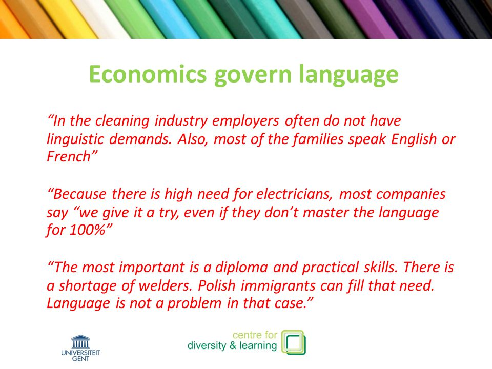 In the cleaning industry employers often do not have linguistic demands.