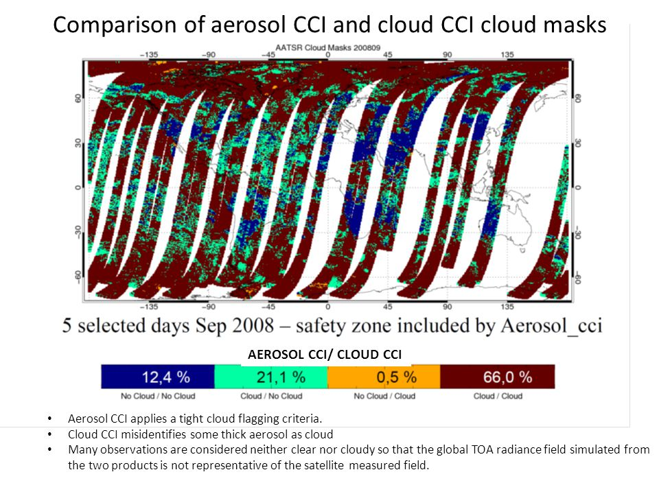 Comparison of aerosol CCI and cloud CCI cloud masks Aerosol CCI applies a tight cloud flagging criteria.