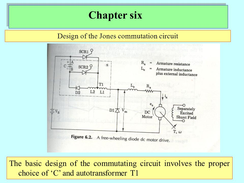 Chapter six Design of the Jones commutation circuit The basic design of the commutating circuit involves the proper choice of 'C' and autotransformer T1