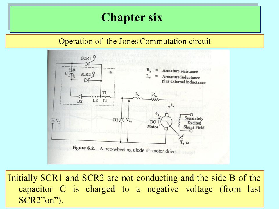 Chapter six Operation of the Jones Commutation circuit Initially SCR1 and SCR2 are not conducting and the side B of the capacitor C is charged to a negative voltage (from last SCR2 on ).