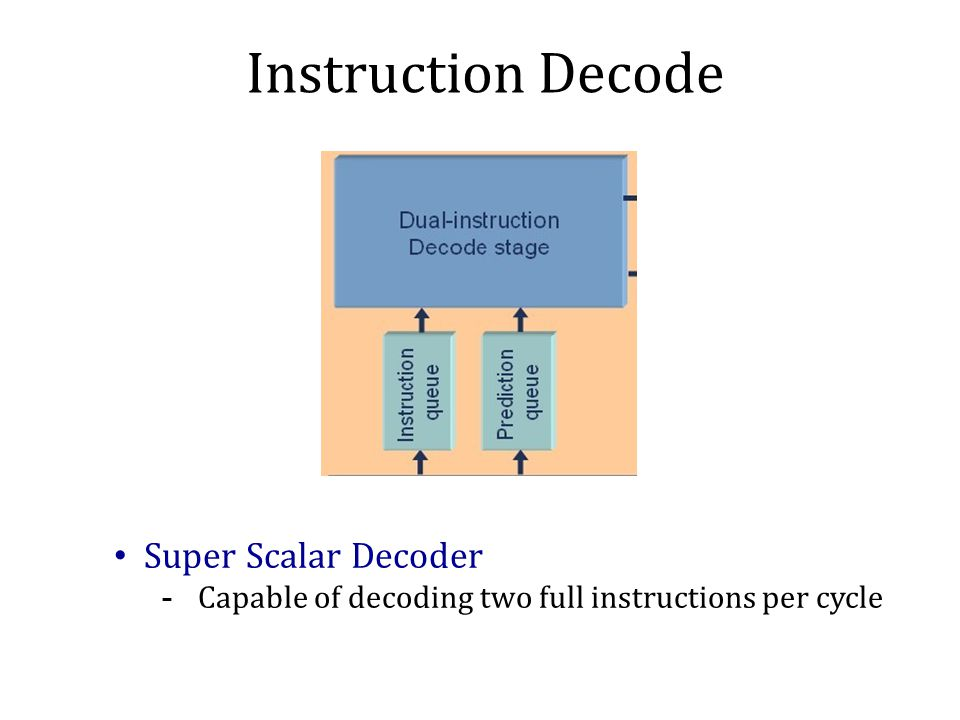 Instruction Decode Super Scalar Decoder -Capable of decoding two full instructions per cycle
