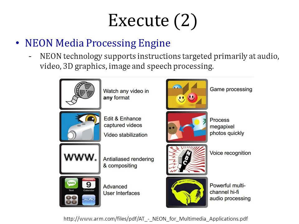 Execute (2) NEON Media Processing Engine -NEON technology supports instructions targeted primarily at audio, video, 3D graphics, image and speech processing.