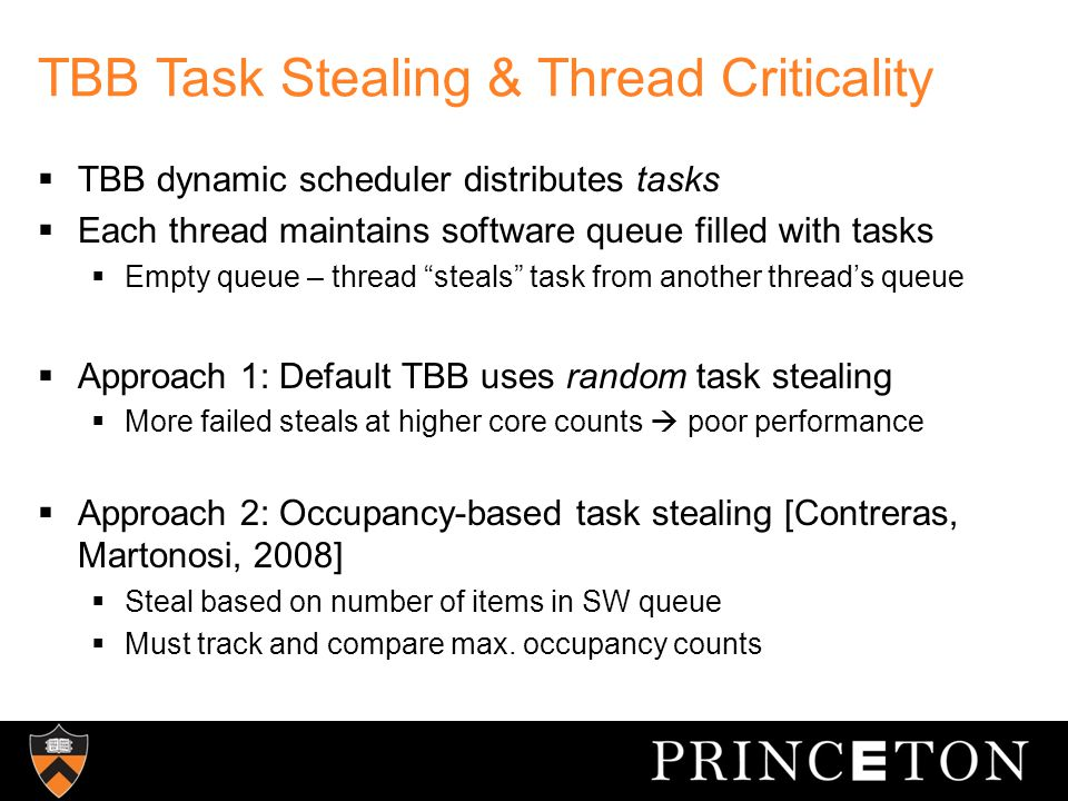 TBB Task Stealing & Thread Criticality  TBB dynamic scheduler distributes tasks  Each thread maintains software queue filled with tasks  Empty queue – thread steals task from another thread's queue  Approach 1: Default TBB uses random task stealing  More failed steals at higher core counts  poor performance  Approach 2: Occupancy-based task stealing [Contreras, Martonosi, 2008]  Steal based on number of items in SW queue  Must track and compare max.