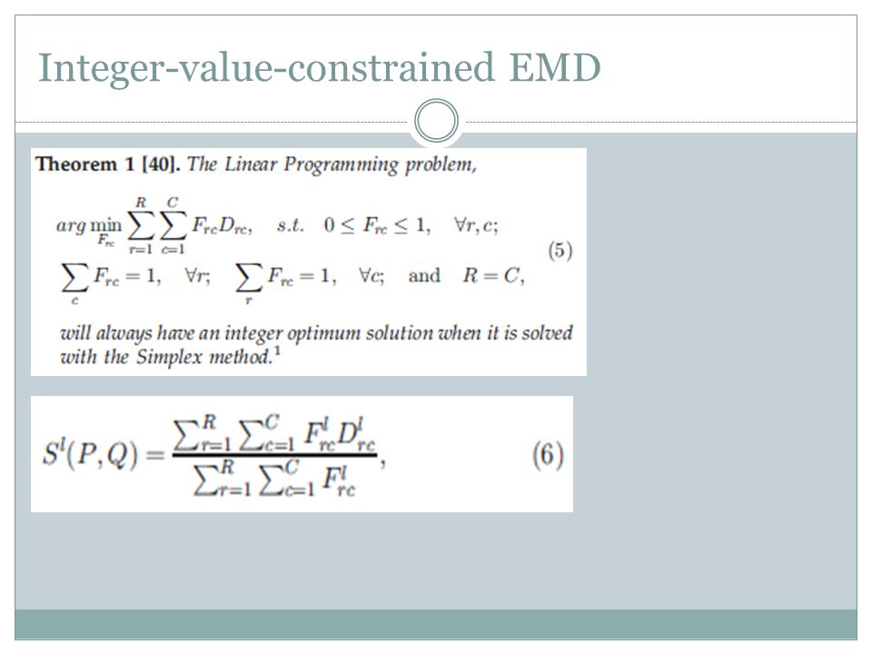 Integer-value-constrained EMD