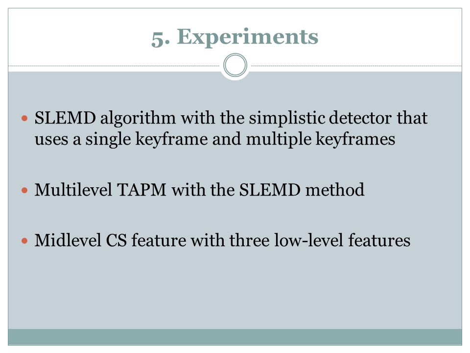 5. Experiments SLEMD algorithm with the simplistic detector that uses a single keyframe and multiple keyframes Multilevel TAPM with the SLEMD method M