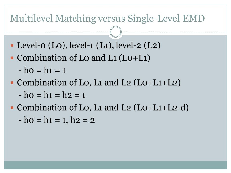 Multilevel Matching versus Single-Level EMD Level-0 (L0), level-1 (L1), level-2 (L2) Combination of L0 and L1 (L0+L1) - h0 = h1 = 1 Combination of L0, L1 and L2 (L0+L1+L2) - h0 = h1 = h2 = 1 Combination of L0, L1 and L2 (L0+L1+L2-d) - h0 = h1 = 1, h2 = 2