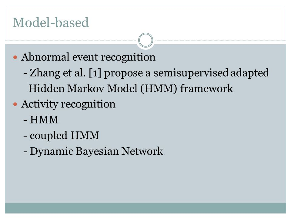 Model-based Abnormal event recognition - Zhang et al.