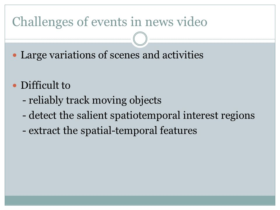Challenges of events in news video Large variations of scenes and activities Difficult to - reliably track moving objects - detect the salient spatiotemporal interest regions - extract the spatial-temporal features