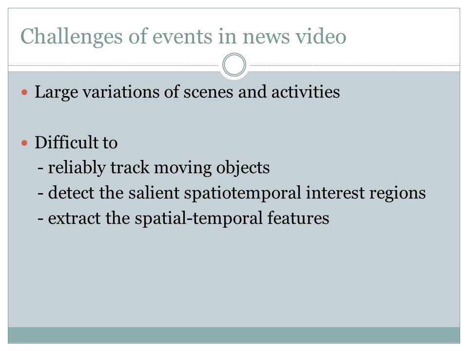 Address the challenges of news video Ebadollahi et al.