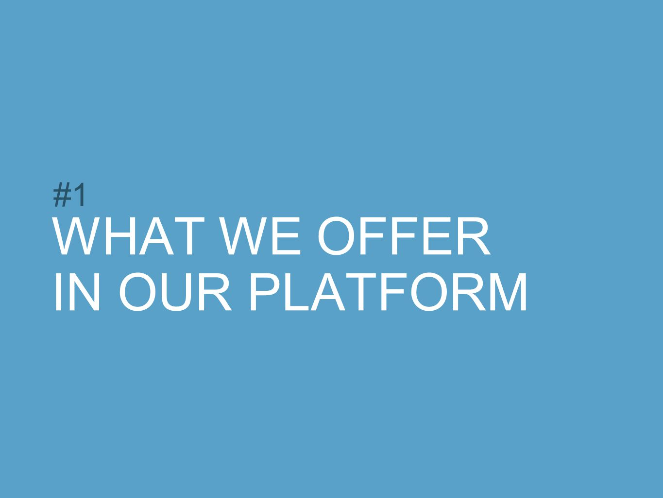 WHAT WE OFFER IN OUR PLATFORM #1
