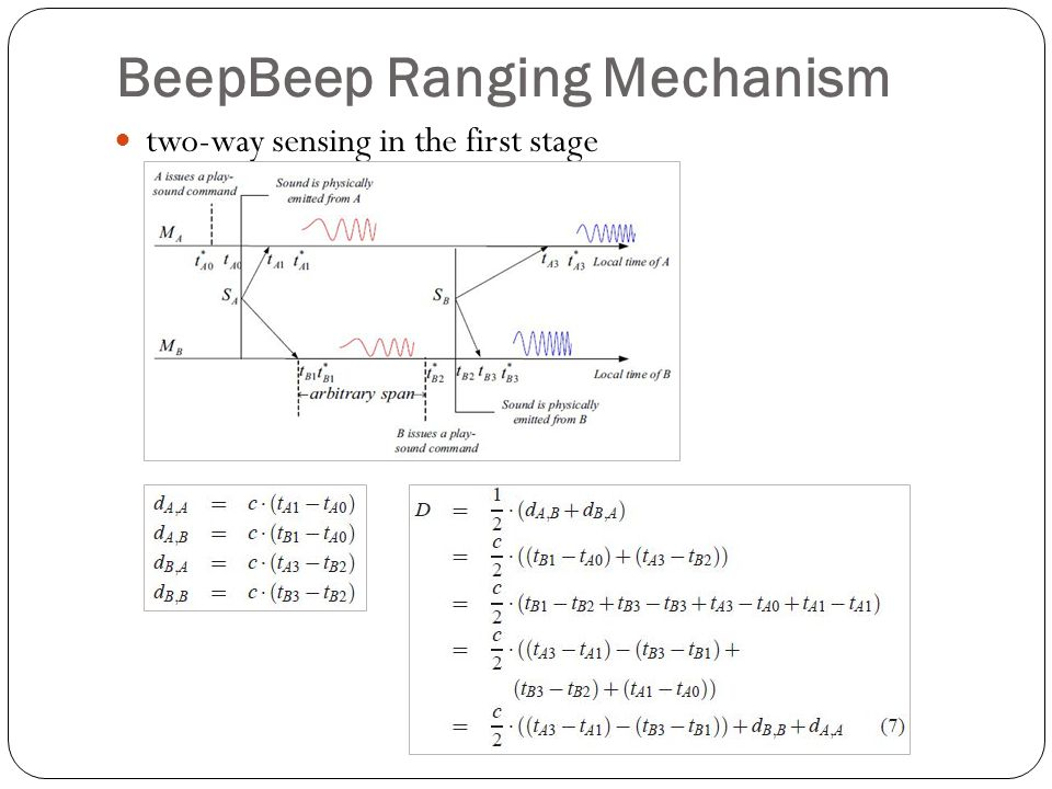 BeepBeep Ranging Mechanism two-way sensing in the first stage