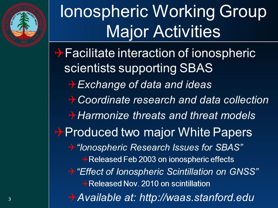 Ionospheric Working Group Major Activities  Facilitate interaction of ionospheric scientists supporting SBAS  Exchange of data and ideas  Coordinate research and data collection  Harmonize threats and threat models  Produced two major White Papers  Ionospheric Research Issues for SBAS  Released Feb 2003 on ionospheric effects  Effect of Ionospheric Scintillation on GNSS  Released Nov.