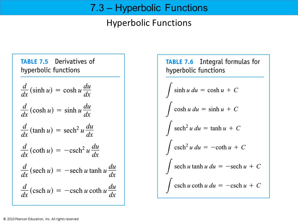 Hyperbolic Functions © 2010 Pearson Education, Inc. All rights reserved 7.3 – Hyperbolic Functions