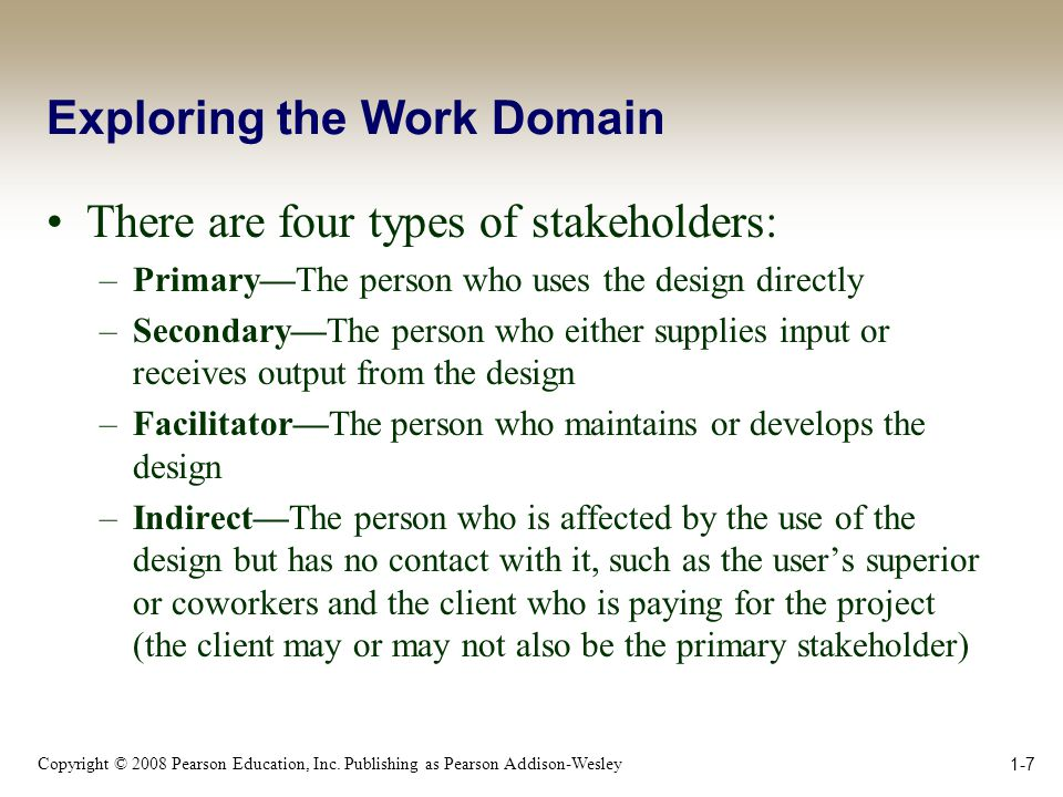 Copyright © 2008 Pearson Education, Inc. Publishing as Pearson Addison-Wesley 1-7 Exploring the Work Domain There are four types of stakeholders: –Pri