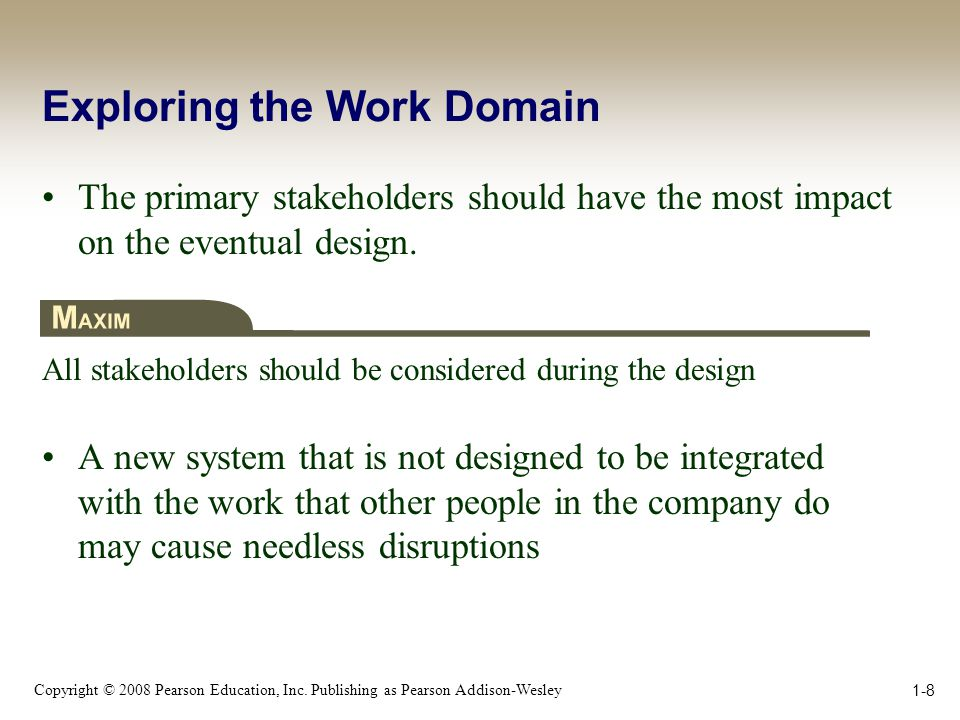 Copyright © 2008 Pearson Education, Inc. Publishing as Pearson Addison-Wesley 1-8 Exploring the Work Domain The primary stakeholders should have the m