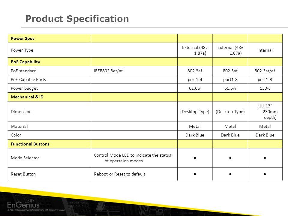 Product Specification Power Spec Power Type External (48v 1.87a) Internal PoE Capability PoE standardIEEE802.3at/af802.3af 802.3at/af PoE Capable Port