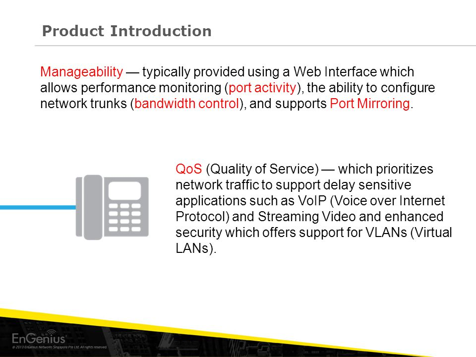 Manageability — typically provided using a Web Interface which allows performance monitoring (port activity), the ability to configure network trunks (bandwidth control), and supports Port Mirroring.