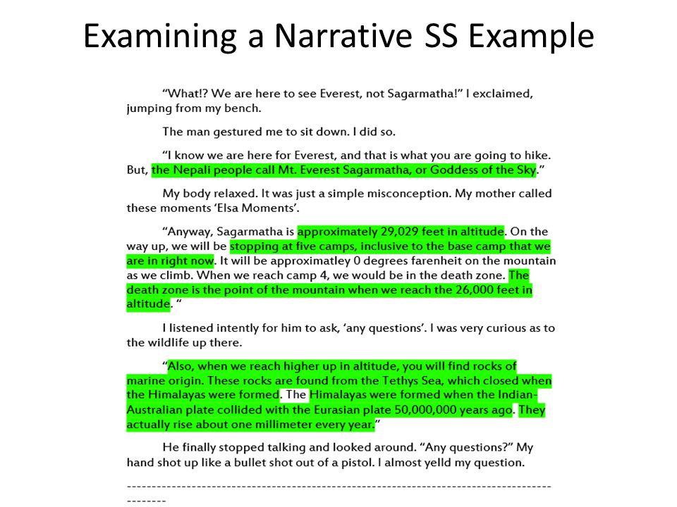 Examining a Narrative SS Example