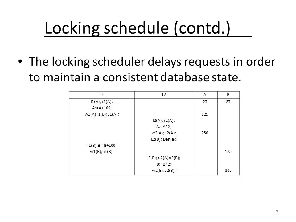 7 Locking schedule (contd.) The locking scheduler delays requests in order to maintain a consistent database state. T1T2AB l1(A); r1(A); A:=A+100; w1(