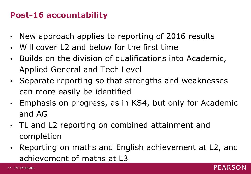 14-19 update25 Post-16 accountability New approach applies to reporting of 2016 results Will cover L2 and below for the first time Builds on the division of qualifications into Academic, Applied General and Tech Level Separate reporting so that strengths and weaknesses can more easily be identified Emphasis on progress, as in KS4, but only for Academic and AG TL and L2 reporting on combined attainment and completion Reporting on maths and English achievement at L2, and achievement of maths at L3