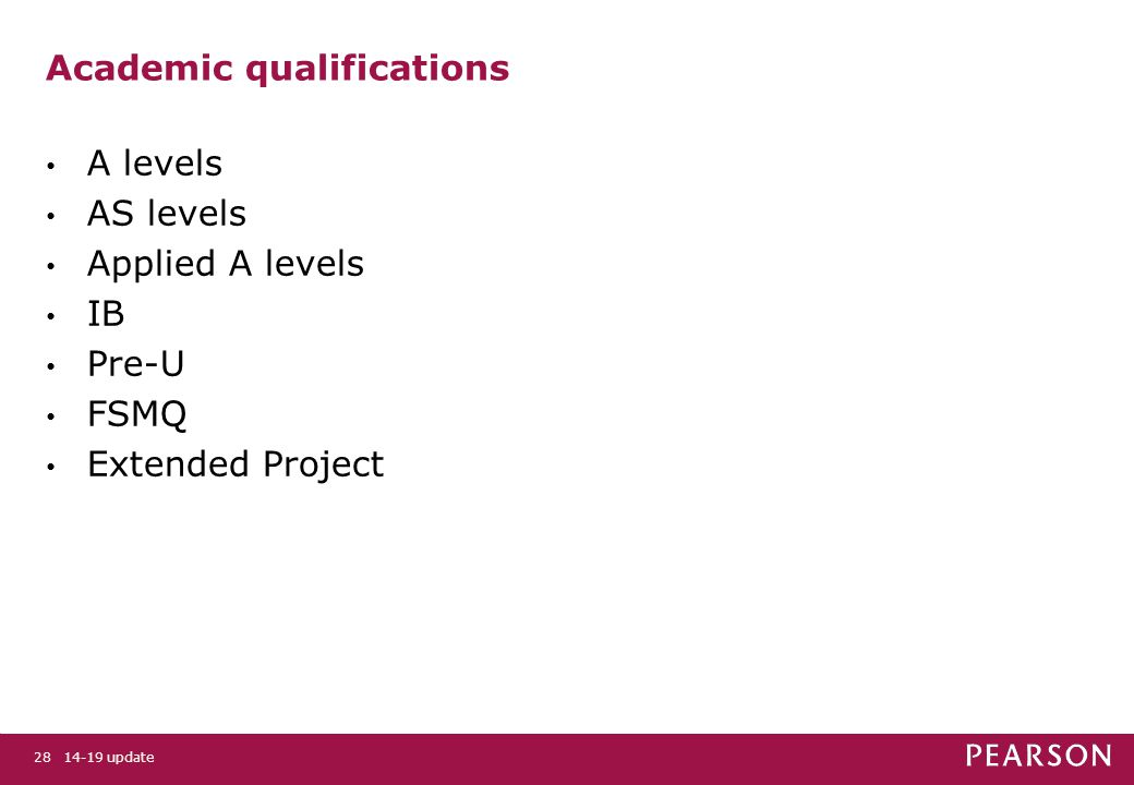 14-19 update28 Academic qualifications A levels AS levels Applied A levels IB Pre-U FSMQ Extended Project