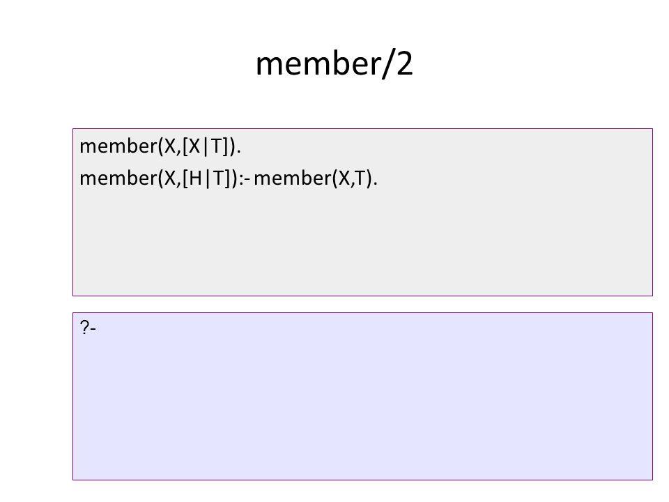 member/2 member(X,[X|T]). member(X,[H|T]):- member(X,T). ?-