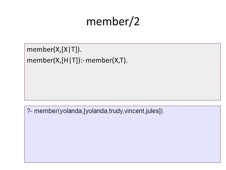 member/2 member(X,[X|T]).member(X,[H|T]):- member(X,T).