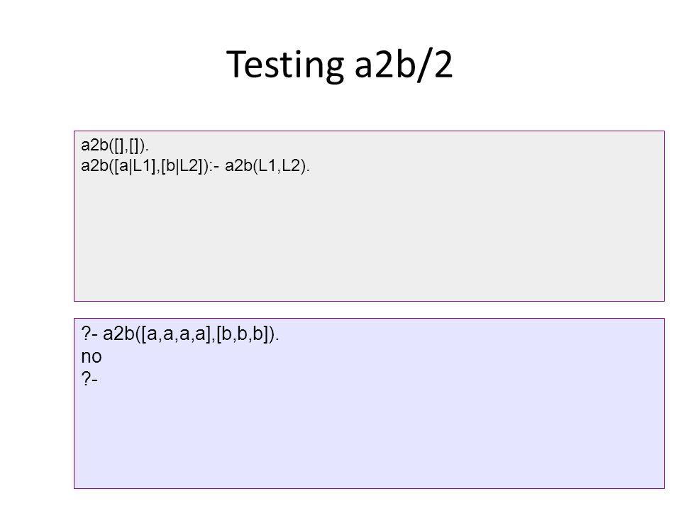 Testing a2b/2 a2b([],[]). a2b([a|L1],[b|L2]):- a2b(L1,L2). ?- a2b([a,a,a,a],[b,b,b]). no ?-
