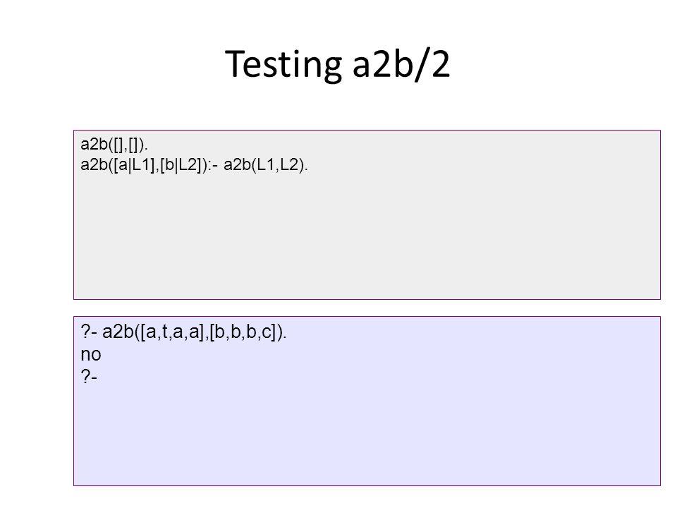 Testing a2b/2 a2b([],[]). a2b([a|L1],[b|L2]):- a2b(L1,L2). ?- a2b([a,t,a,a],[b,b,b,c]). no ?-
