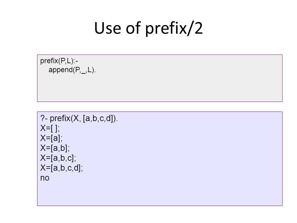Use of prefix/2 prefix(P,L):- append(P,_,L).?- prefix(X, [a,b,c,d]).