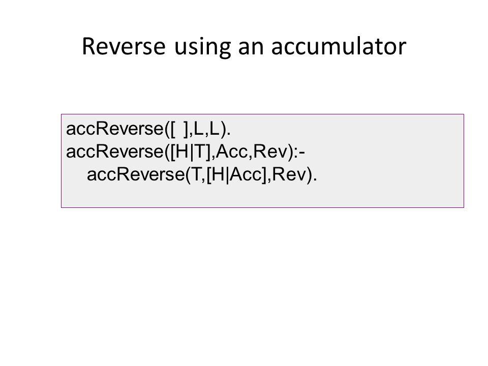 Reverse using an accumulator accReverse([ ],L,L).