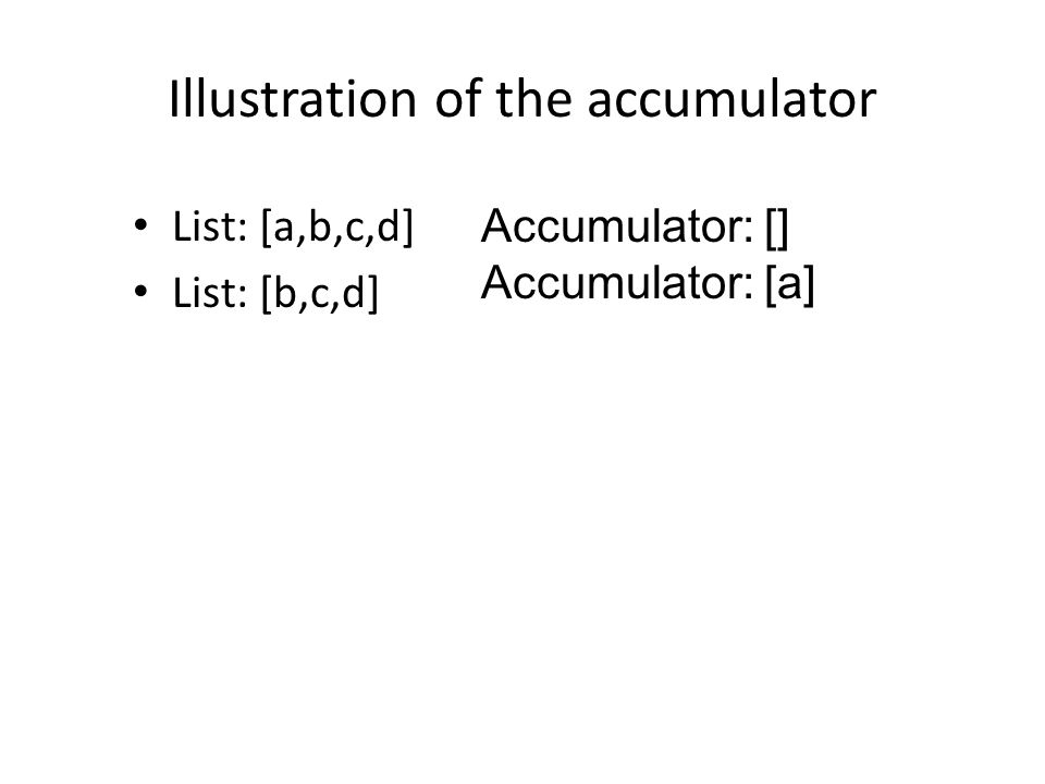 Illustration of the accumulator List: [a,b,c,d] List: [b,c,d] Accumulator: [] Accumulator: [a]
