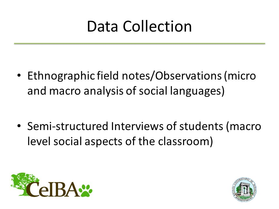 Data Collection Ethnographic field notes/Observations (micro and macro analysis of social languages) Semi-structured Interviews of students (macro level social aspects of the classroom)