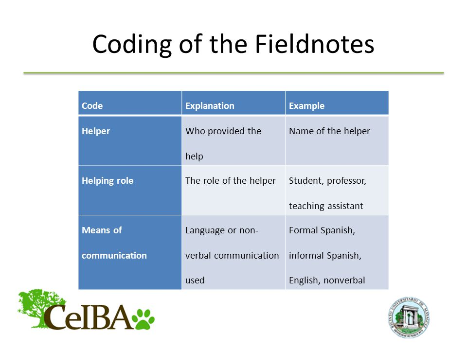 Coding of the Fieldnotes CodeExplanationExample Helper Who provided the help Name of the helper Helping roleThe role of the helper Student, professor, teaching assistant Means of communication Language or non- verbal communication used Formal Spanish, informal Spanish, English, nonverbal