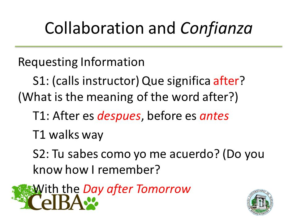 Collaboration and Confianza Requesting Information S1: (calls instructor) Que significa after.