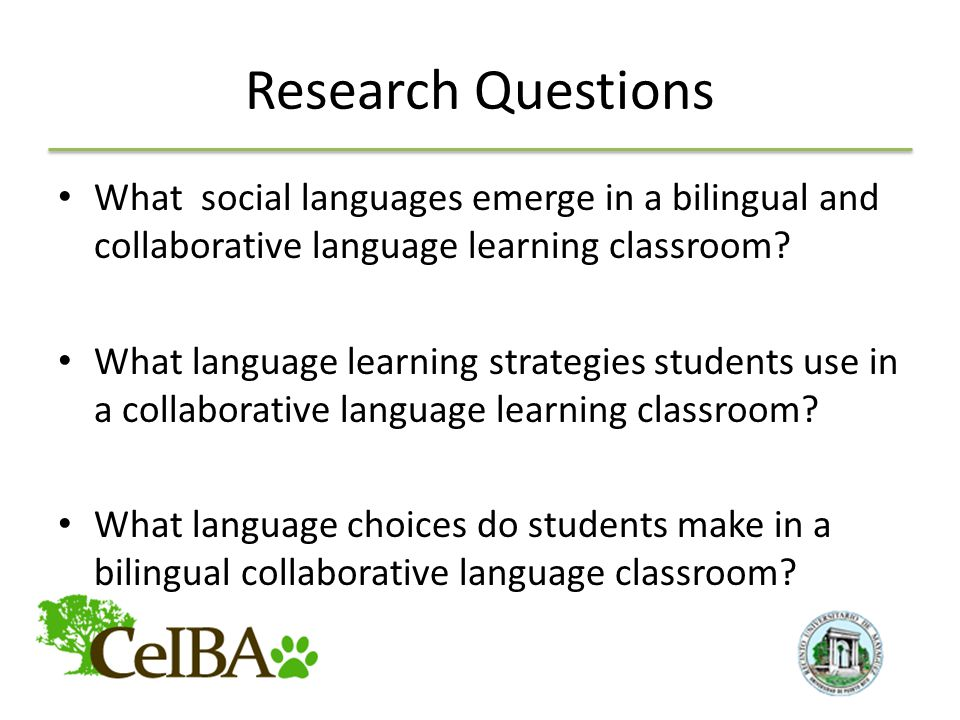 Research Questions What social languages emerge in a bilingual and collaborative language learning classroom.