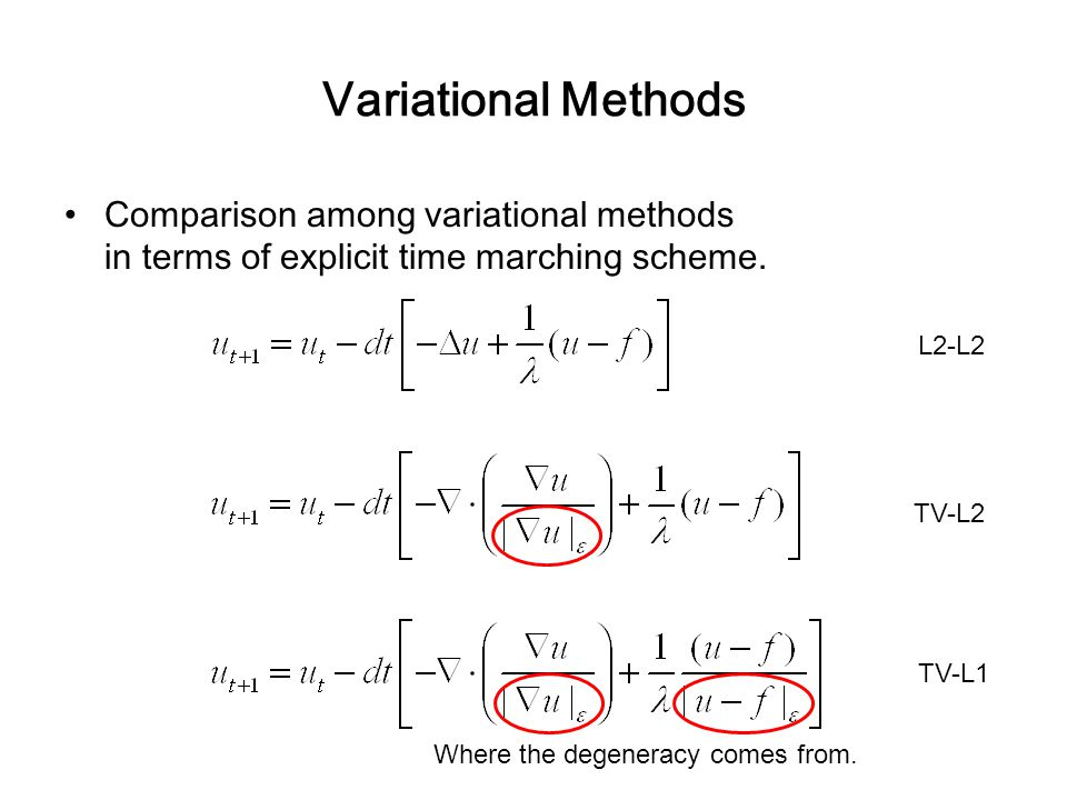 Variational Methods Comparison among variational methods in terms of explicit time marching scheme. Where the degeneracy comes from. L2-L2 TV-L2 TV-L1